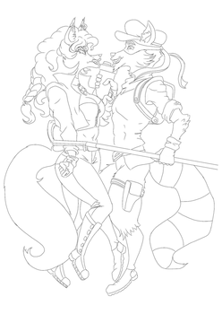 Sly cooper and Carmelita line art by Richiewolf