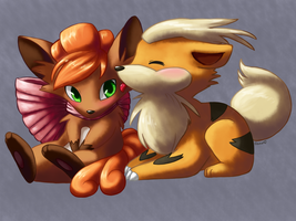 Vulpix and Growlithe--Christmas Gift