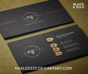 Black and Gold Business Card by khaledzz9
