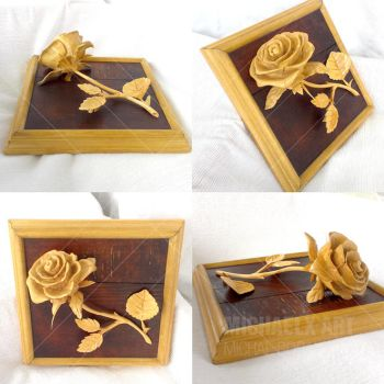 Rose carved of wood complete (Daily Deviation) by byMichaelX
