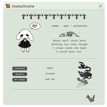 [F2U] Monochrome non-core code by xynnical
