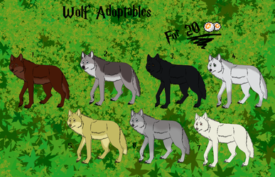 WOLF ADOPTABLES - OPEN by Juzoka-Vargulf-Eqqus