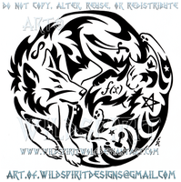 Wolf And Cat + Symbols Yin Yang Tribal Design by WildSpiritWolf
