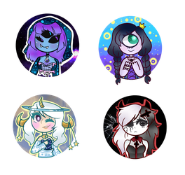 [Art Payment]: Kawaii-Antagonist Button Batch by SimplyDefault