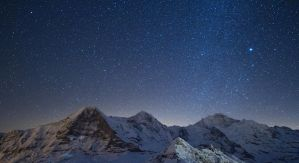 Starry night over the 3 mountains of Bern by Arafinwearcamenel