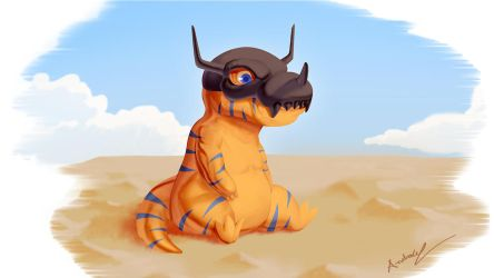 Lonely Greymon by andrewportella