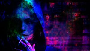 Cyberpunk Glitch: Smoking Girl by ioanz