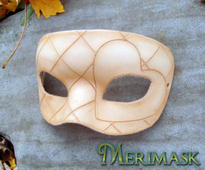 Unpainted Leather Harlequin Heart Mask by merimask