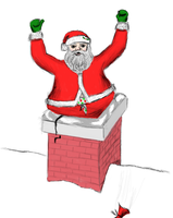 Santa Stuck in Chimney by CDJam