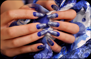 Royal blue and silver print by Tartofraises