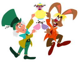 Mad Hatter, March Hare, Dormouse by Tewateroniakwa
