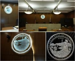 CA State Seal Etched Glass Courtroom Edgelighting by ImaginedGlass