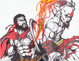 Leonidas vs Kratos by RosasFantastica