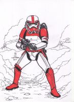 #Inktober pen sketch - Shock Trooper by Robert-Shane
