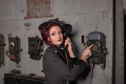 Stock - Steampunk on the telephone close 3 by S-T-A-R-gazer
