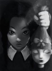 Wednesday Addams and her doll by Celiarts