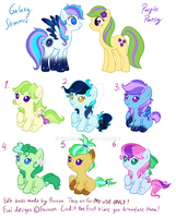 CLOSED! Galaxy Shimmer x Purple Pansy Bred adopts! by Furreon