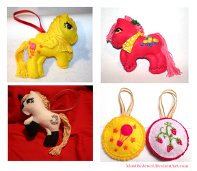 My Little Pony hand-sewn ornaments by MustBeJewel