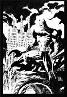 Batman over Barcelona inked by jimlee00