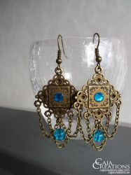 Blue bead chain earrings by petrova
