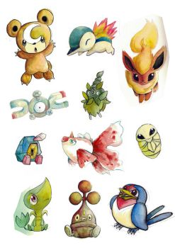 Misc Pokemon Watercolor Practise 05 by k-hots