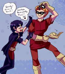 Young Justice - Speedy x Robin stolen mask by Cloud-Kitsune