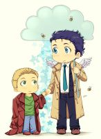 Castiel and Dean by LinART