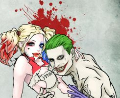 Harley Quinn and Joker by Purple-Meow