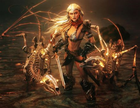 Warrior Woman + Bone Dragons, Fantasy Iray 3D-Art by shibashake