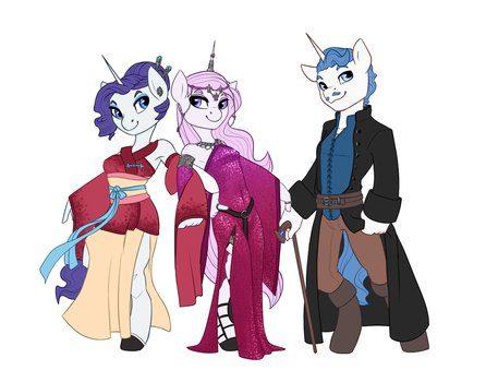 Rebellion AU- Rarity, Fleur de Lis, Fancy Pants by Joan-Grace