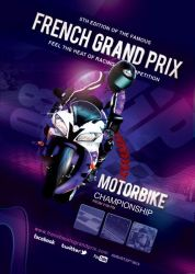 Flyer Poster French Grand Prix Moto Race by n2n44