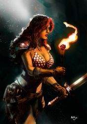 Comic digital art - Red Sonja in the Cave by marcelohilustra