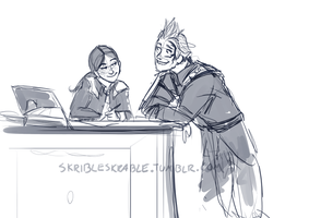 Zell and the library girl by skribleskrable