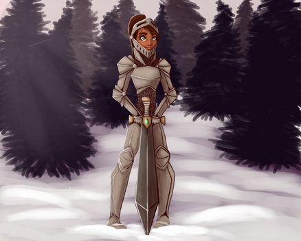 Female Knight in Snow by Gemzz101lol