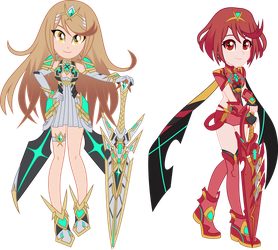 Pyra and Mythra by LimeDazzle