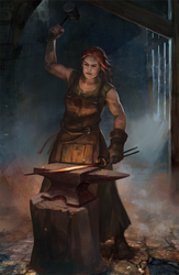 Female Blacksmith - hammering by City-of-Zeroes