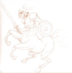 Centaur Warrior 'Sketch' by shanku
