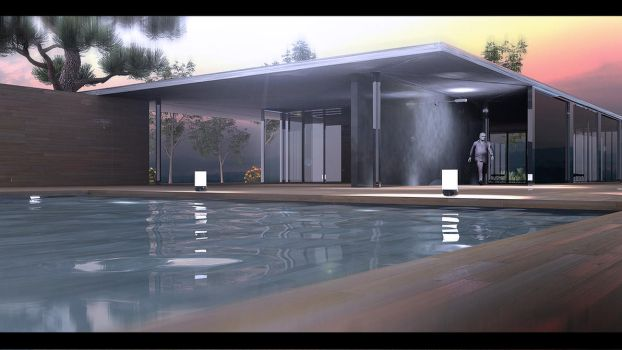 Vray - Barcelona Villa Night by EmilioEx