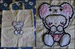 Hello Kitty bag Xstitch beads by lamu1976