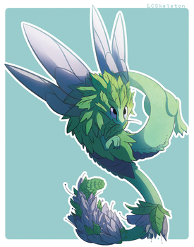 Spearmint Dragon by Lightcall-Skeleton