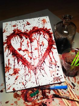 Blood painting (My Heart) by TheChristOff
