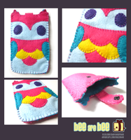 Rainbow Owl Felt Gadget Case -For Sale- by Mazzlebee