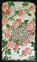 Antique Polish Postcard - Spiderweb, Roses, Doves by KarRedRoses