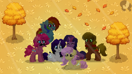 The Mane Six in Pony Town by RachelClaraArt
