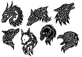 Tattoos, eagle, wolf, dragon by MetaSelene