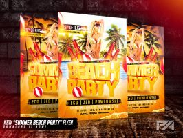 Summer Beach Party Flyer Template by pawlowskiart