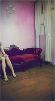 a girl and antique sofa by jstyle23