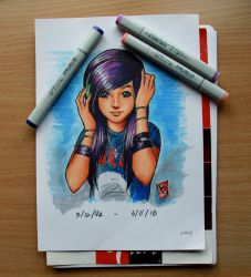 Christina Grimmie in copic markers WIP by Joshua-Mozes