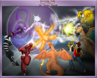 Red vs Mewtwo by cretaceousisle