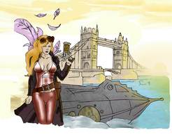 Colored -- steampunk girl on london bridge by electronicdave